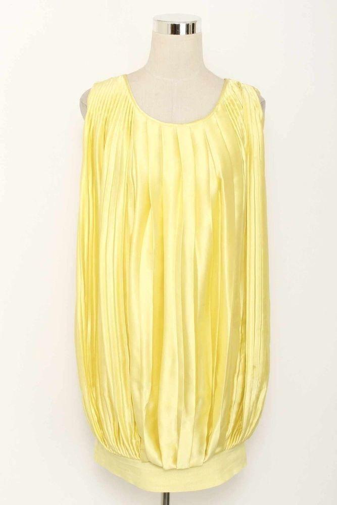 Adam Adam Lippes Size 4 Yellow Pleated Sleeveless Silk Dress 1279 L1015 Ebay