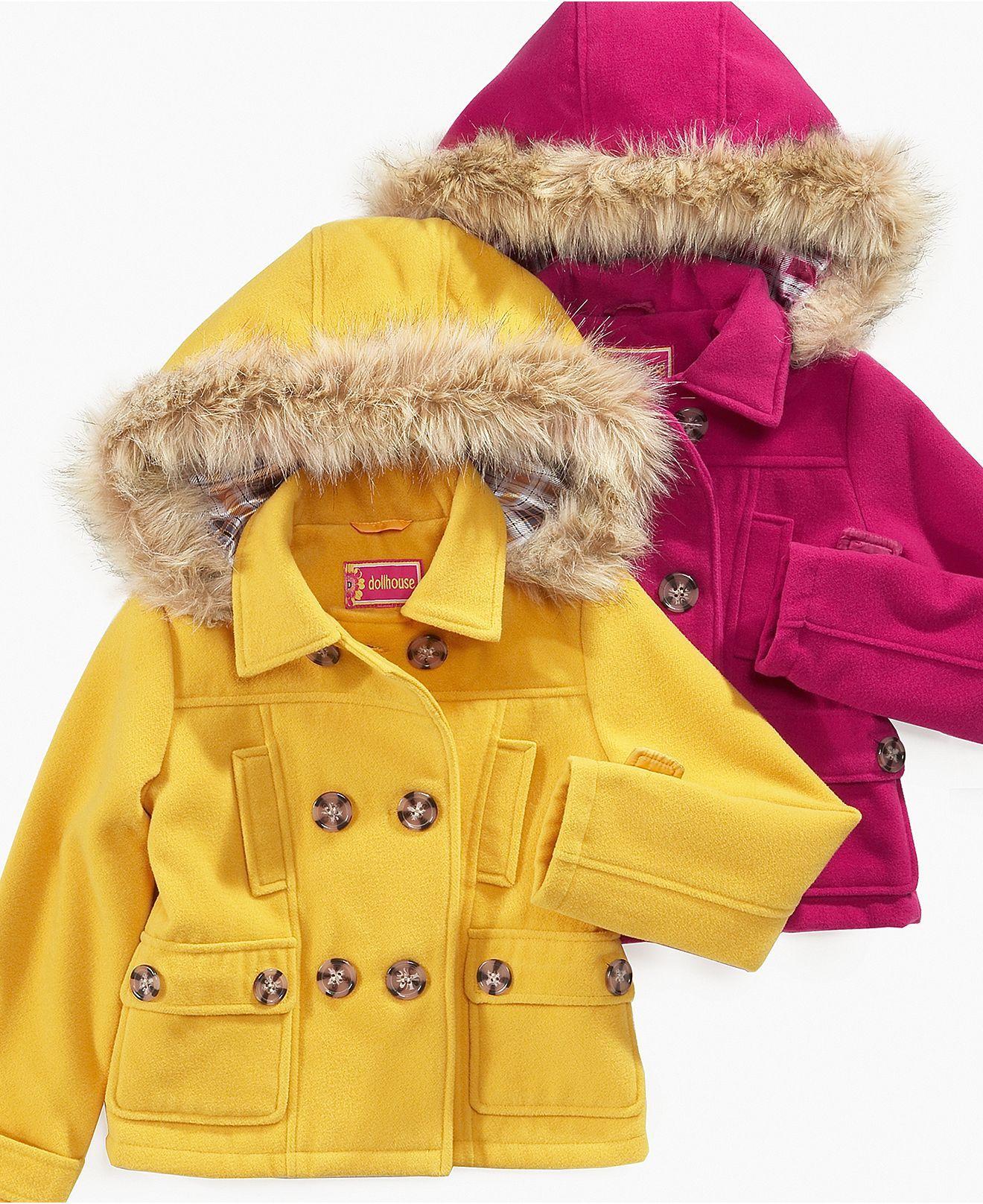 Girl S Dollhouse Kids Jacket Macy S Cute Coat For My Sweet Girl Faux Fur Pea Coat Kids Jacket Girls Jackets Kids [ 1616 x 1320 Pixel ]