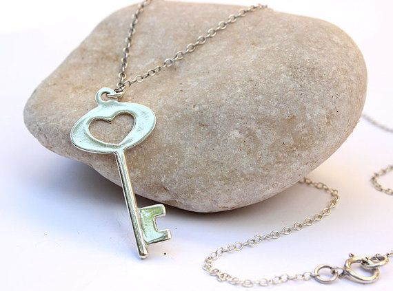 sterling silver skeleton key necklace  silver key charm - everyday dainty necklace gift on Etsy, 127.39 ₪