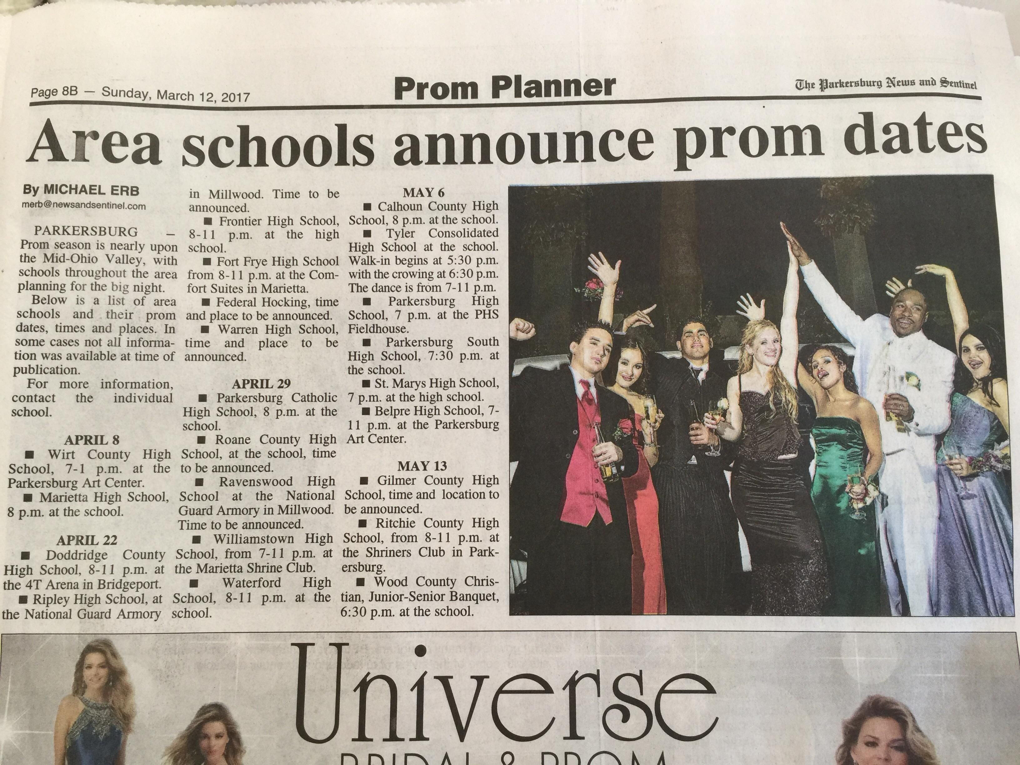 Local paper posts prom season ad with picture of prom attendees drinking alcohol.