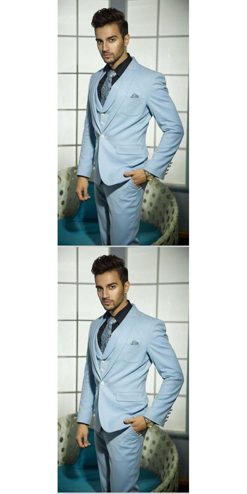 2017 Latest Light Blue Groom Blazer Men Suit Wedding Suits For Men ...