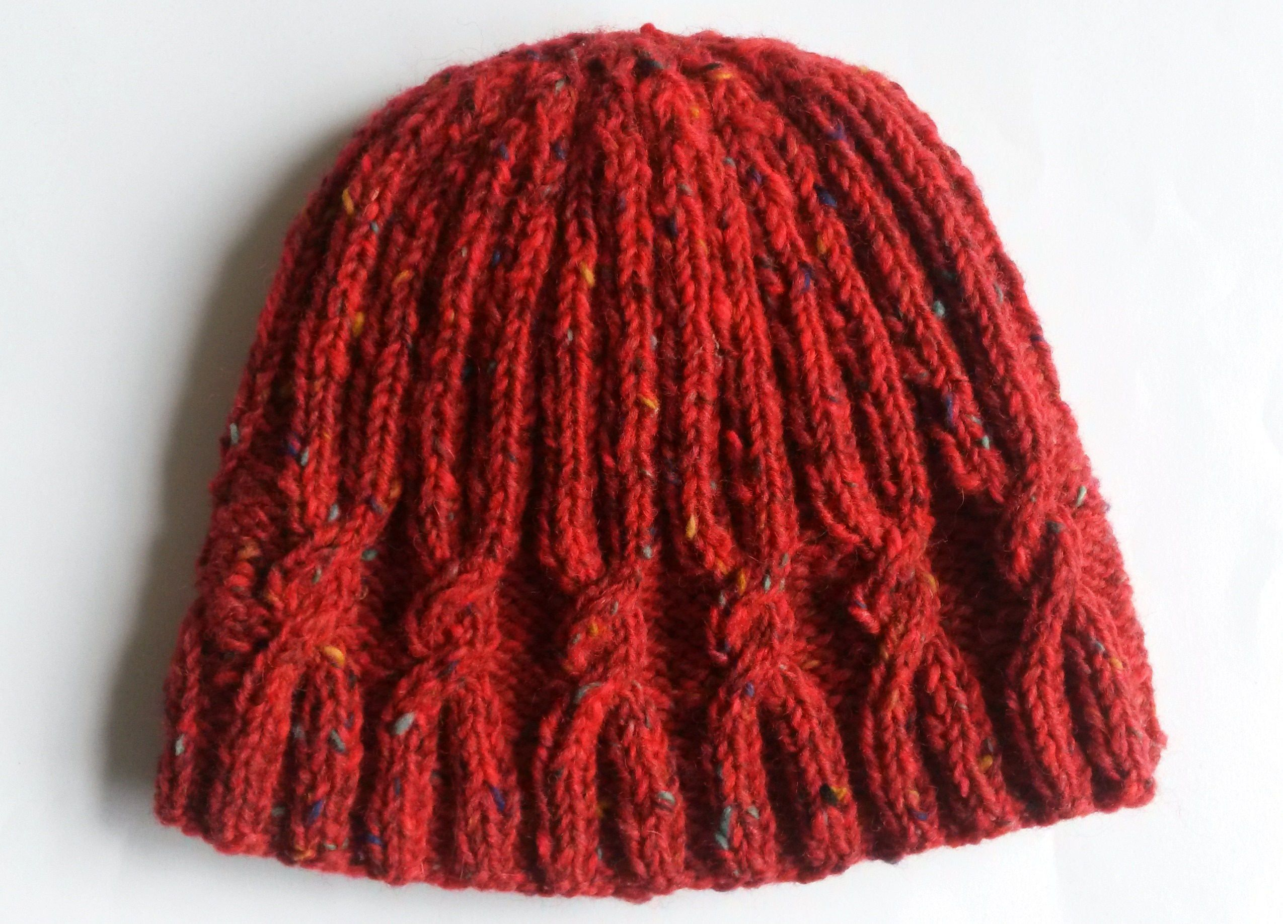 58617d5830780 Cable knit beanie. Handknit wool hat. Red tweed Irish wool. Aran cable  beanie