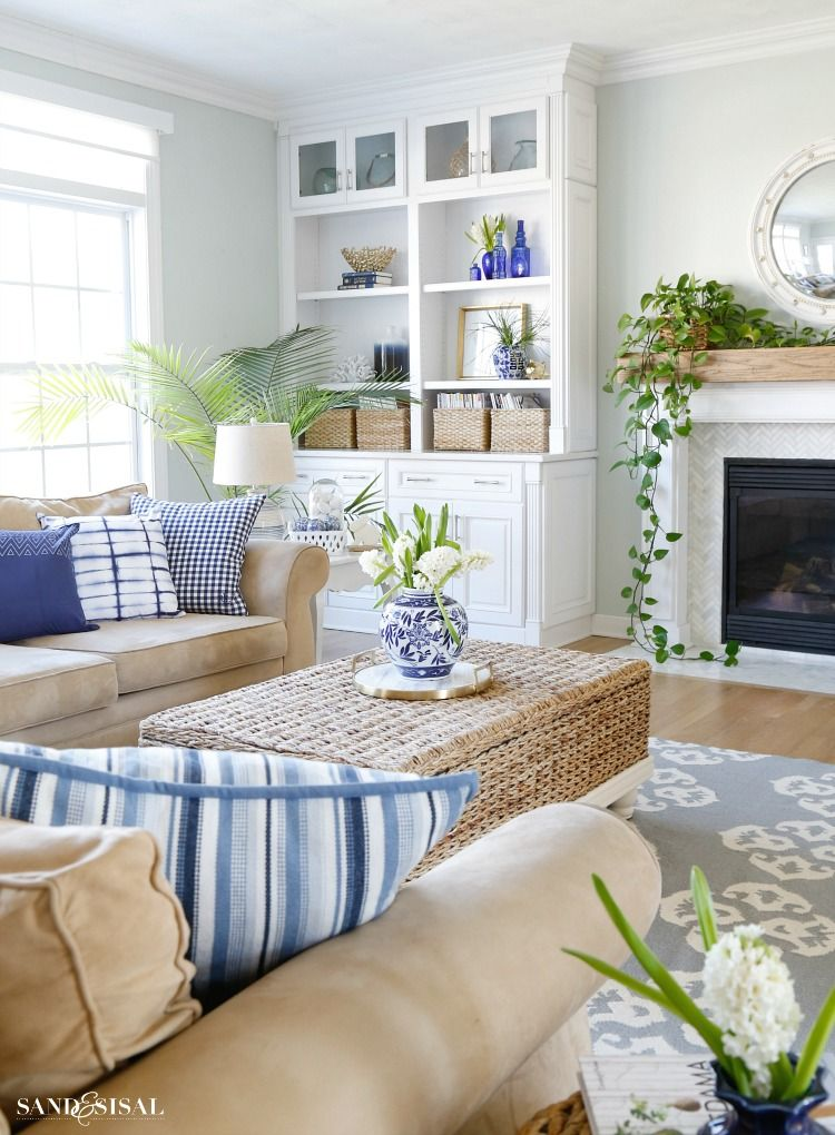 Blue and white spring living room tour sand and sisal