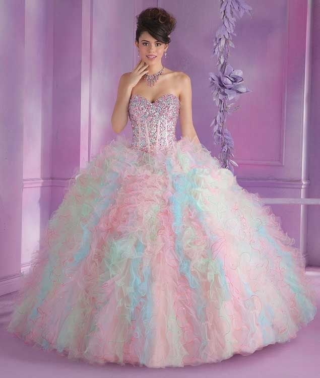 Pretty Sweet 16 Dresses Pink And Blue Colorful Quinceanera Dresses ...