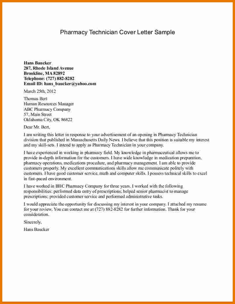 [ Pharmacy Technicians Letterarmacy Technician Cover Letter Sample Job Application  Letters For Internship Free Example ]   Best Free Home Design Idea U0026 ...