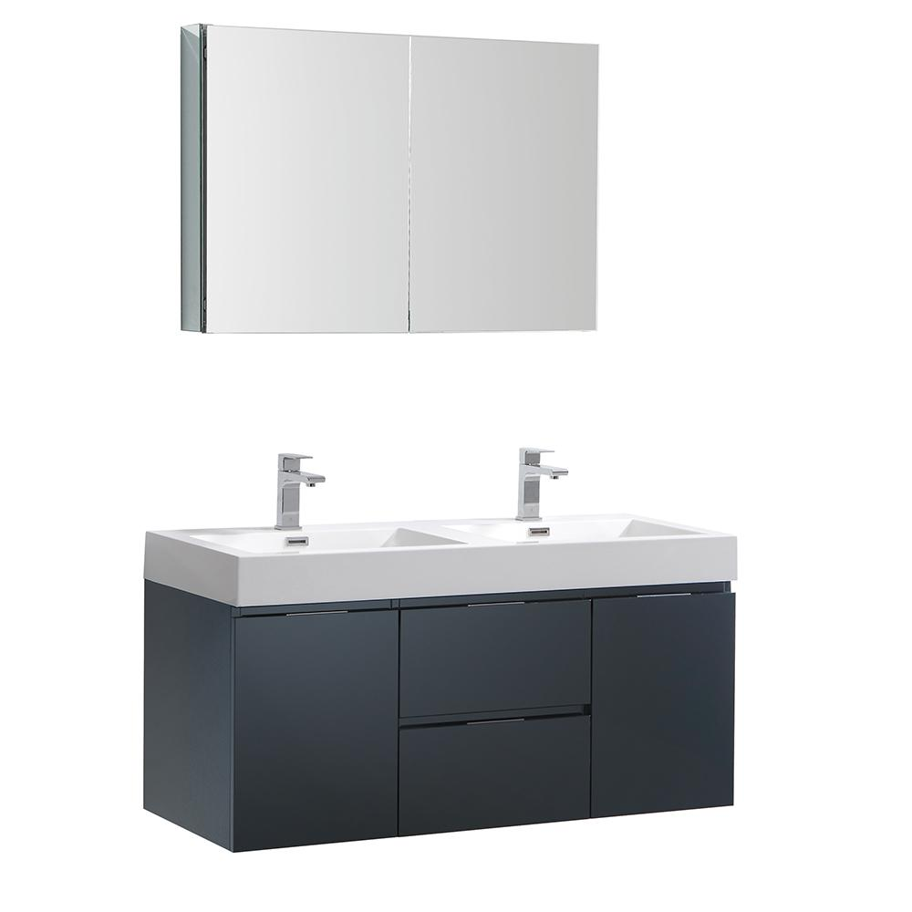 Fresca Valencia 48 In W Wall Hung Vanity In Dark Slate Gray