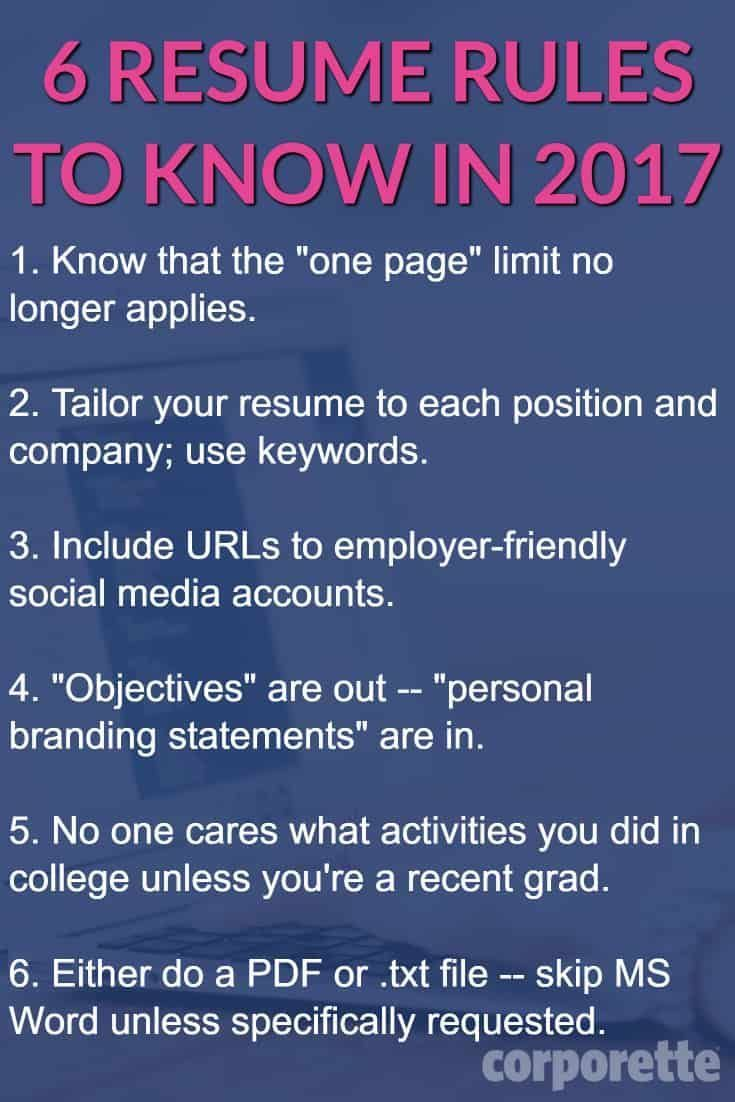 6 Resume Rules for 2017 That You May Not Know About - Job help, Job resume, Resume, Resume writing, Job interview tips, Job hunting - Can your resume go over a page  What's the best way to get past the HR bots  Lots of good tips in here you need to know