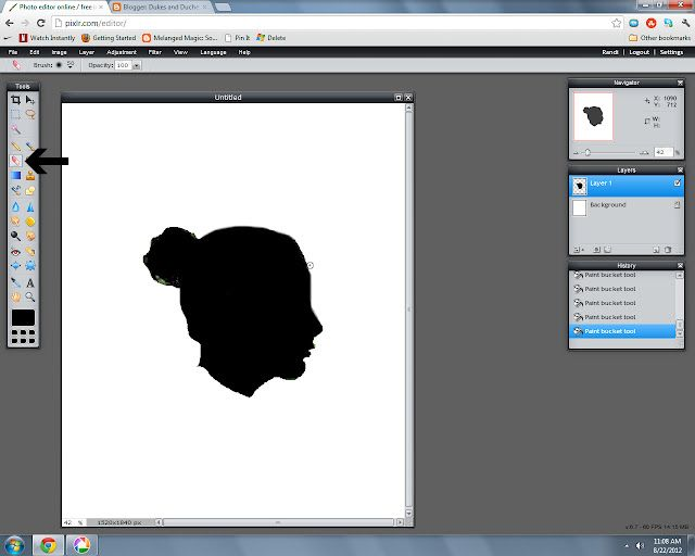 make a silhouette using Pixlr, a free online editing program