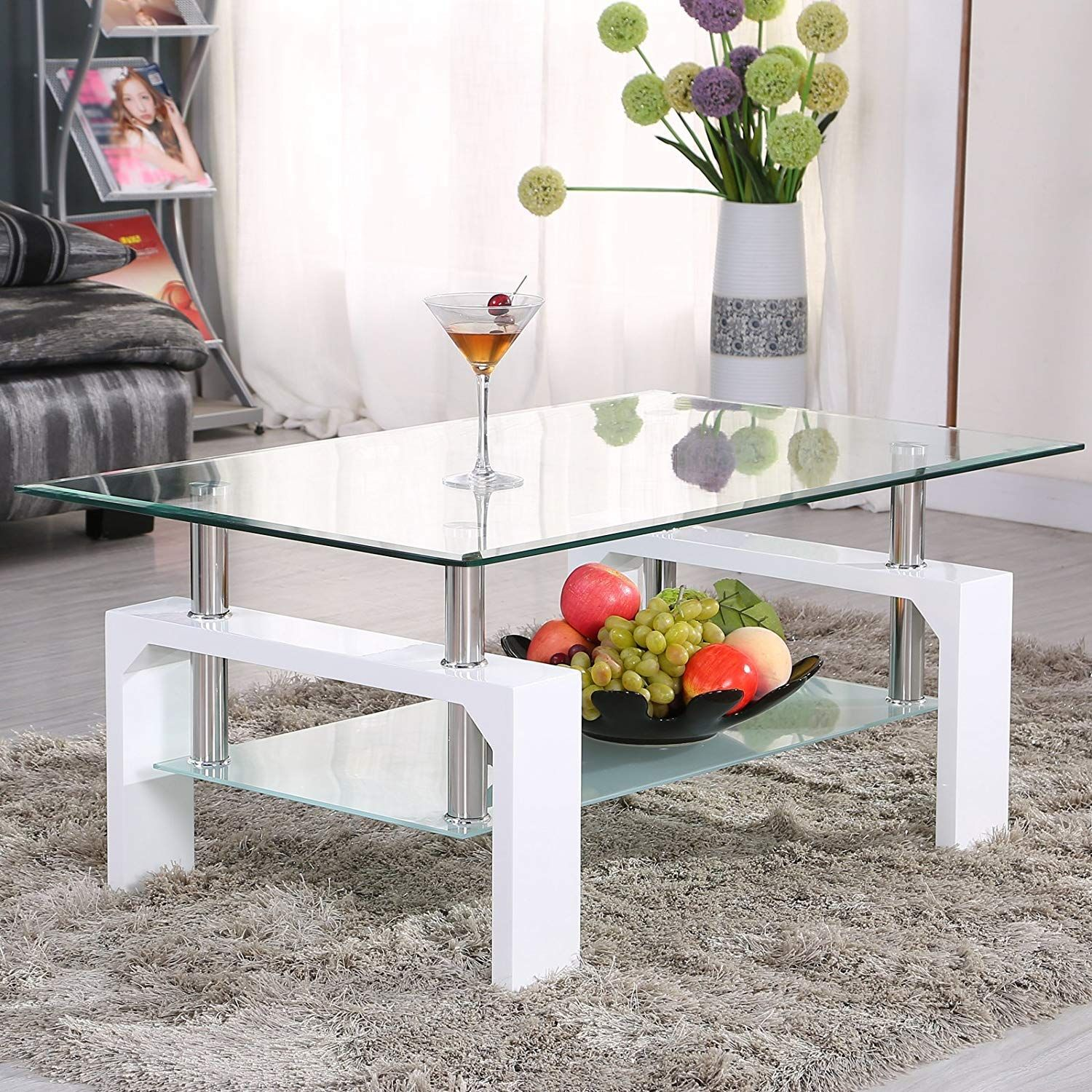 Amazon Com Mecor Rectangle Glass Coffee Table White Modern Side Coffee Table With Lower Shelf Wooden Legs Coffee Table Design Coffee Table White Coffee Table [ 1500 x 1500 Pixel ]