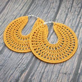 Crochet brown bronze hoop earrings, Crochet Hoop Earrings, Silver Plated Drop Earrings, Boho Womans Accessory