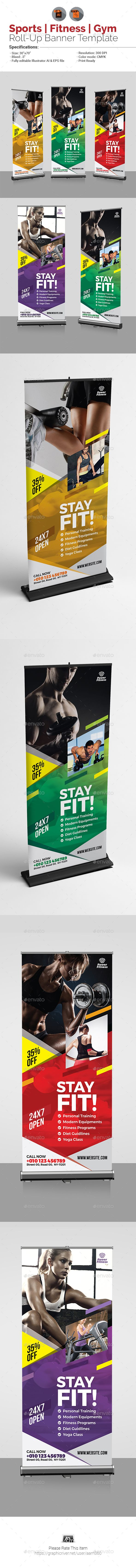 Fitness Roll Up Banner - Signage Print Templates   Roll-up Banner