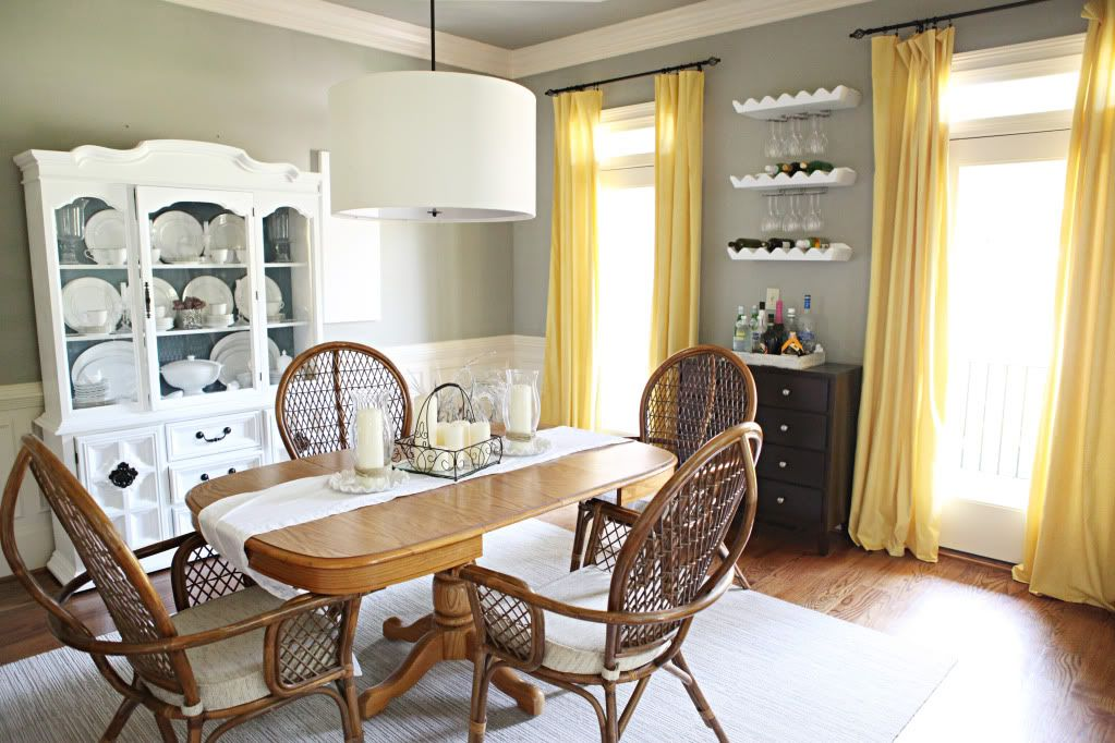 Dining Room Curtains Yellow Walls Grey And White Add Some Silver