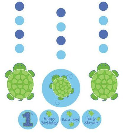 Amazon.com: Creative Converting Mr. Turtle Hanging Decorations with Stickers, 3-Piece: Toys & Games