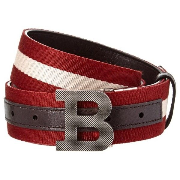 Bally Bally B Buckle Stripe Canvas & Leather Belt (4 615 UAH) ❤ liked on Polyvore featuring men's fashion, men's accessories, men's belts and bally mens belt