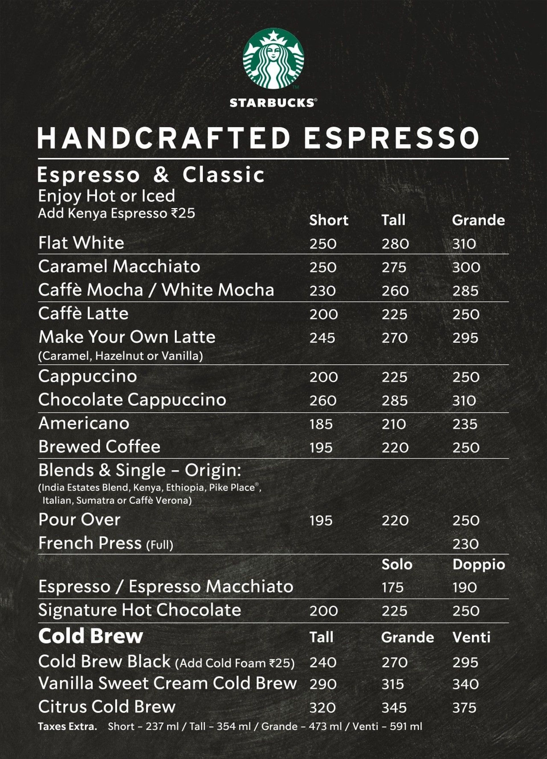 Starbucks Regular Coffee Menu Coffee Menu Starbucks Menu Starbucks Menu Prices