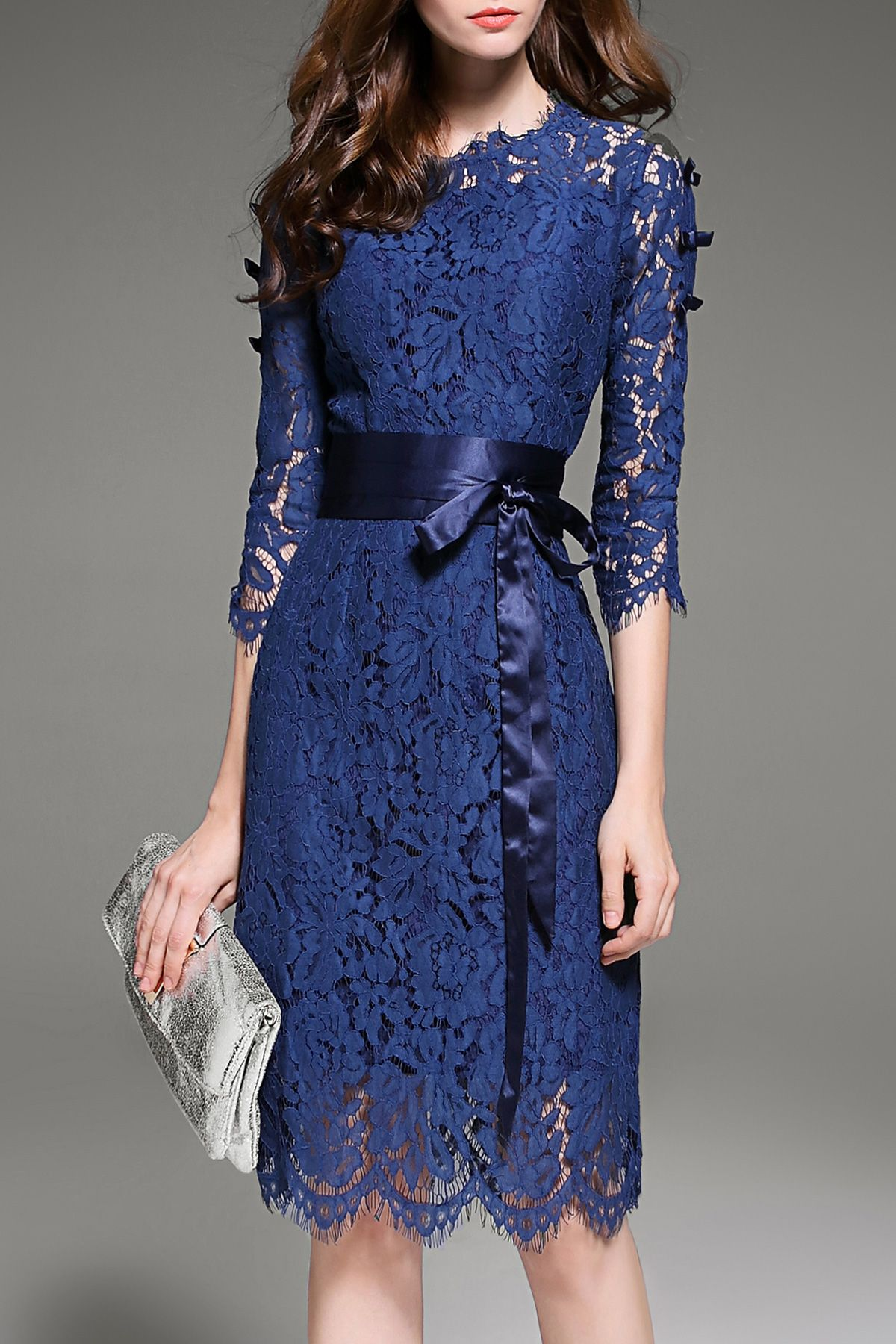 04a113cc763 Krush.miu Deep Blue Lace Hollow Out Belted Dress