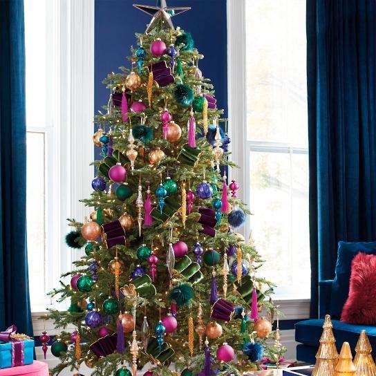Uptown Brights Designer Christmas Tree Shop The Look Purple Christmas Tree Colorful Christmas Tree Rainbows Christmas
