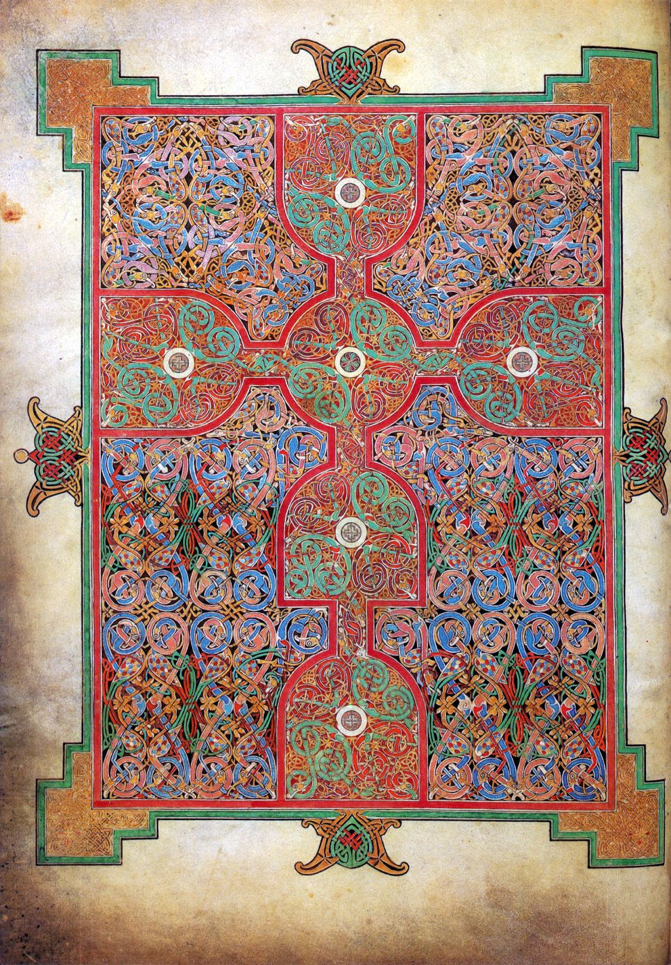 Lindisfarne Gospels Saint Matthew Cross Carpet Page 9