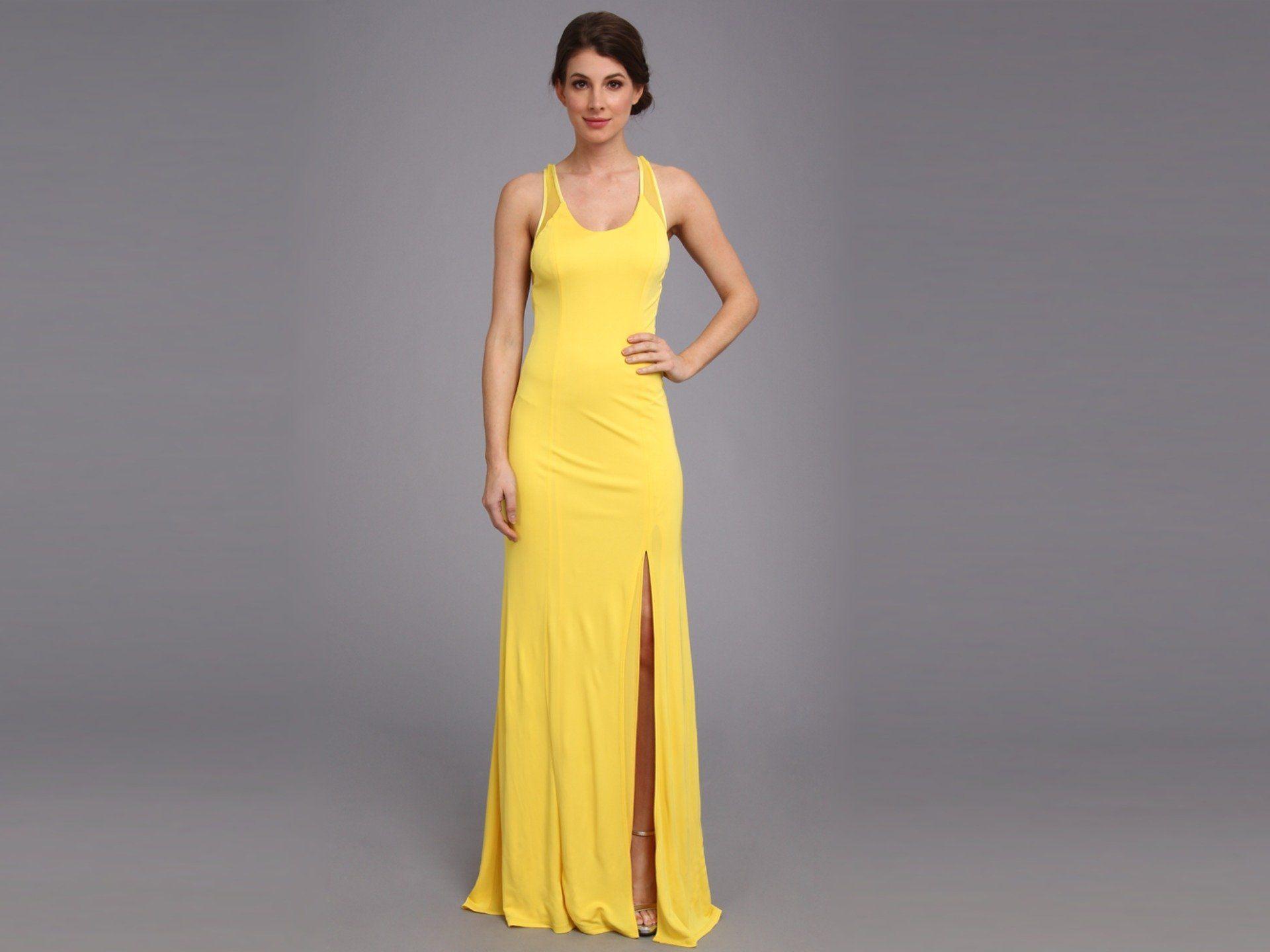 Yellow dress for women  ABS Allen Schwartz Womenus Tank Gown w Slit and CrossBack Mesh
