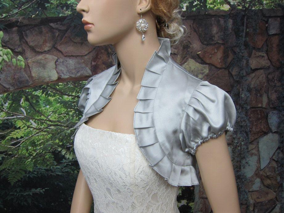 Silver short sleeve satin wedding bolero jacket shrug | Satin ...