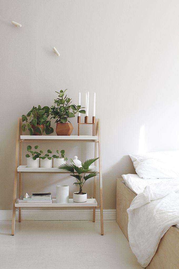 Minimalist Modern Organic Bedroom Interior Design Idea: Use A Ladder Shelf  To Hold Candles,