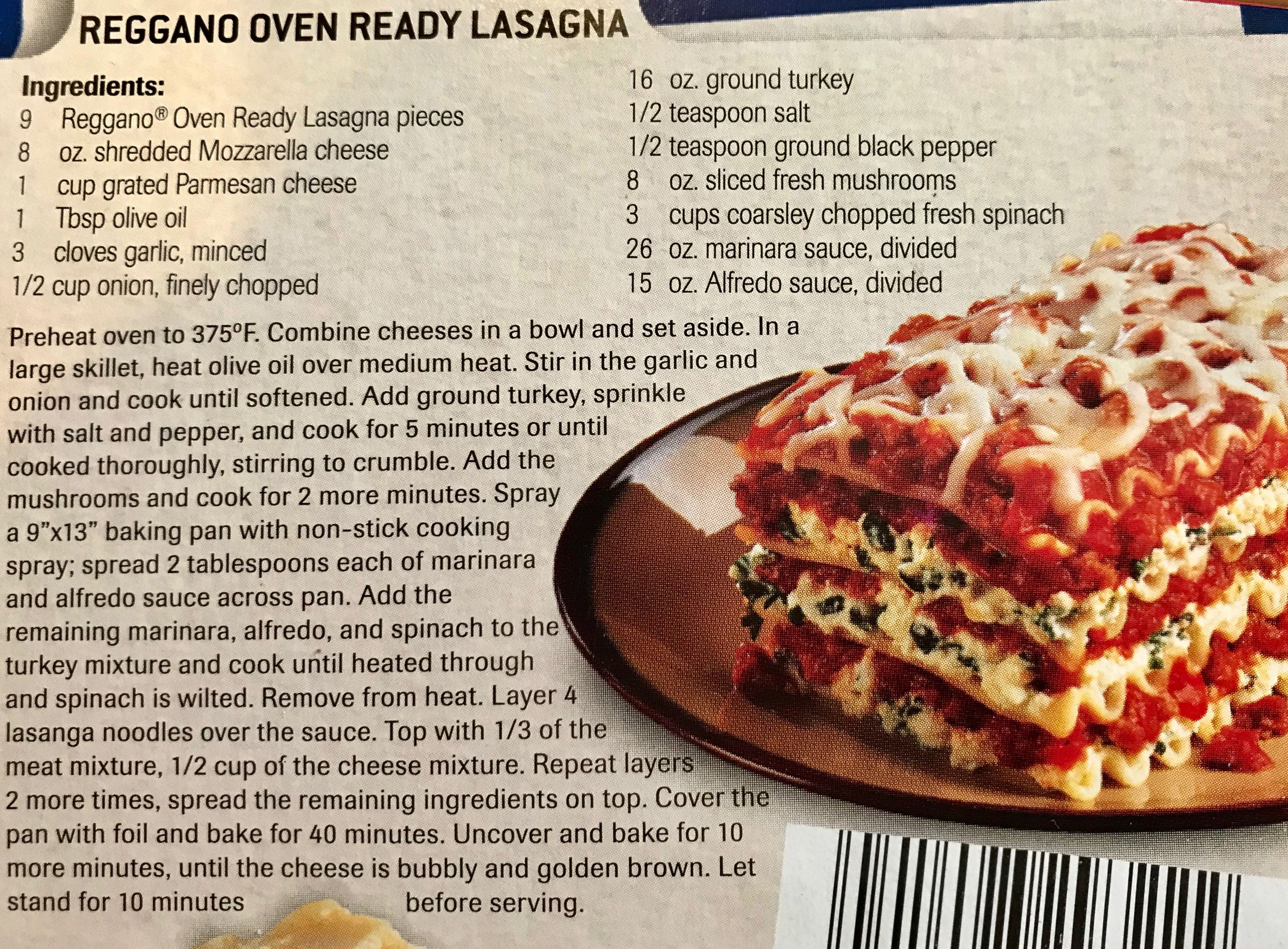 Aldi Reggano Oven Ready Lasagne Recipe Add 1 2 C Water For Every 5 Pcs Of Lasagne Can Use Less Mushro Oven Ready Lasagna Lasagne Recipes Lasagna Ingredients