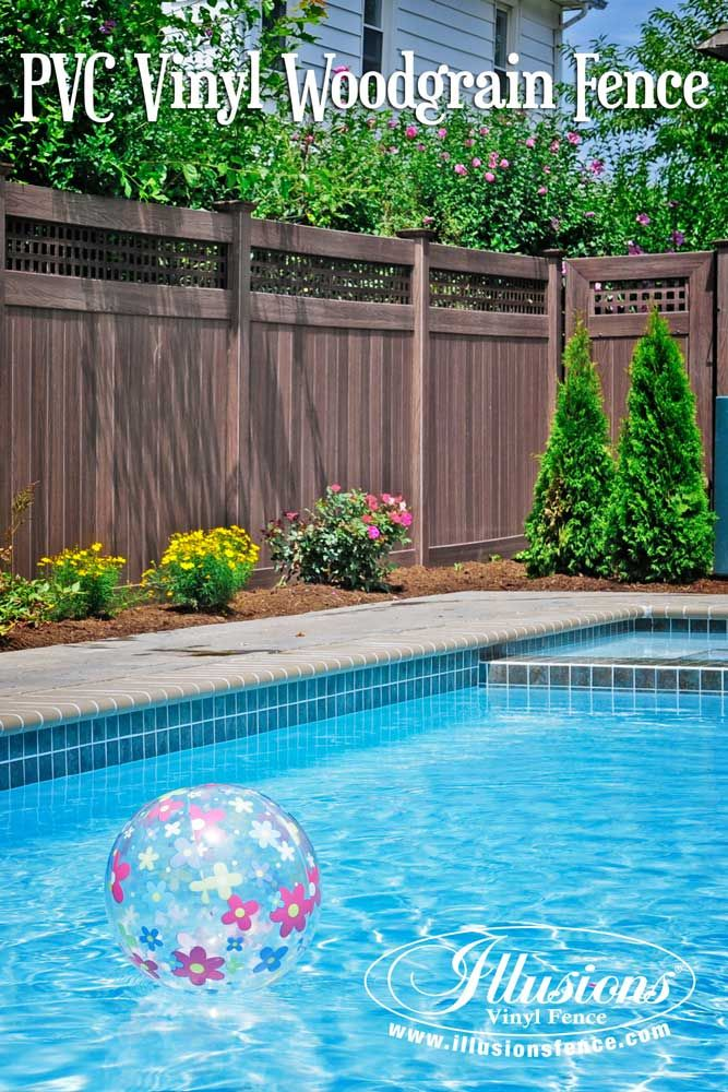 Fence Ideas That Add Curb Appeal Awesome Pool Fence Idea Of Walnut Pvc Vinyl Privacy Fence From Illusions Vi Privacy Fence Designs Vinyl Fence Backyard Fences