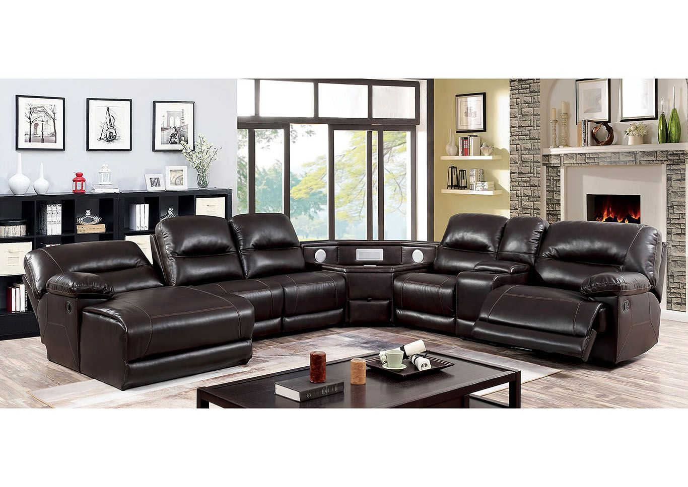 Glasgow Sectional W Corner Wedge W Usb Speakers Furniture Of America Sectional Sofa With Recliner Furniture Of America Reclining Sectional