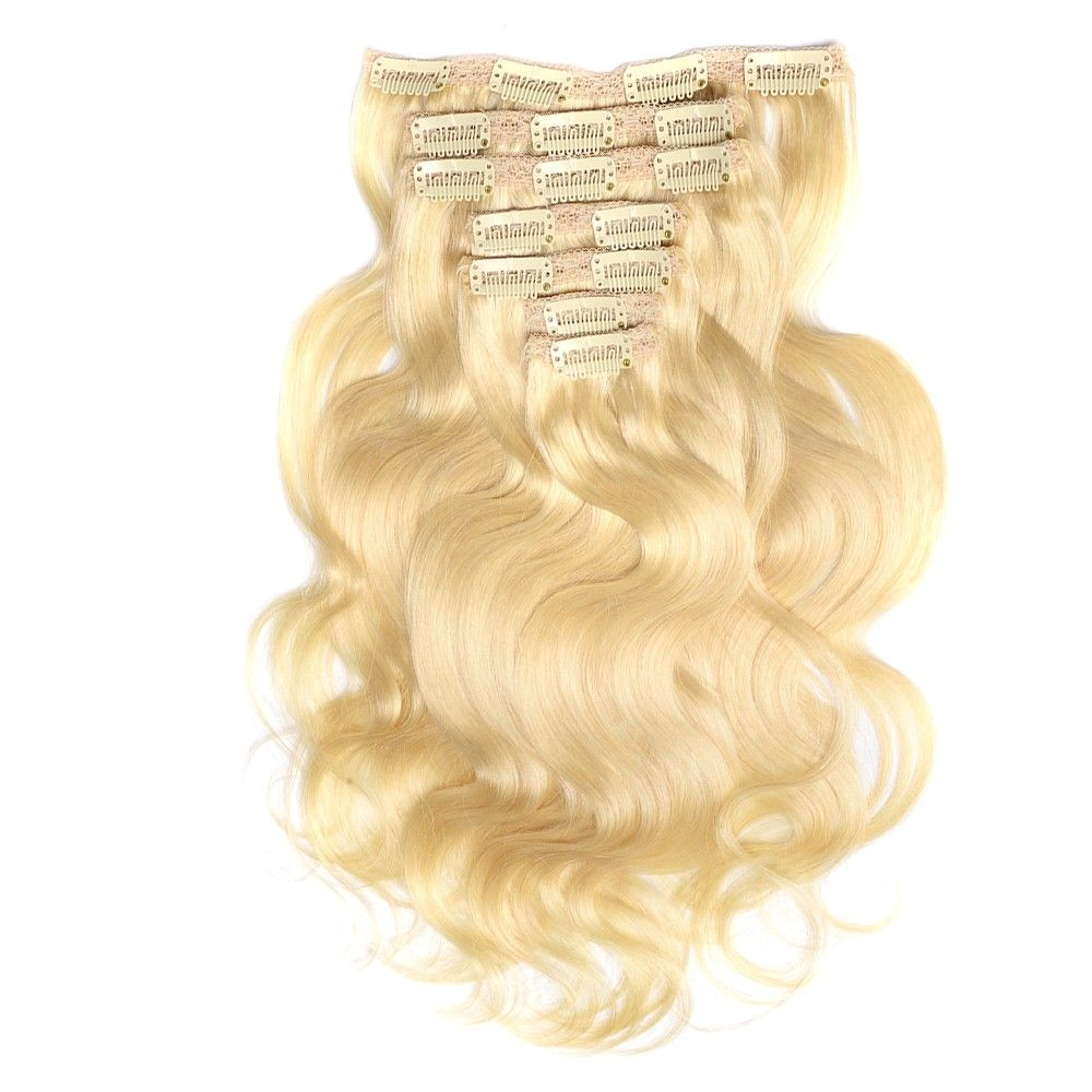Blonde Body Wave Clip-In Remy Human Hair Extensions Set #humanhairextensions