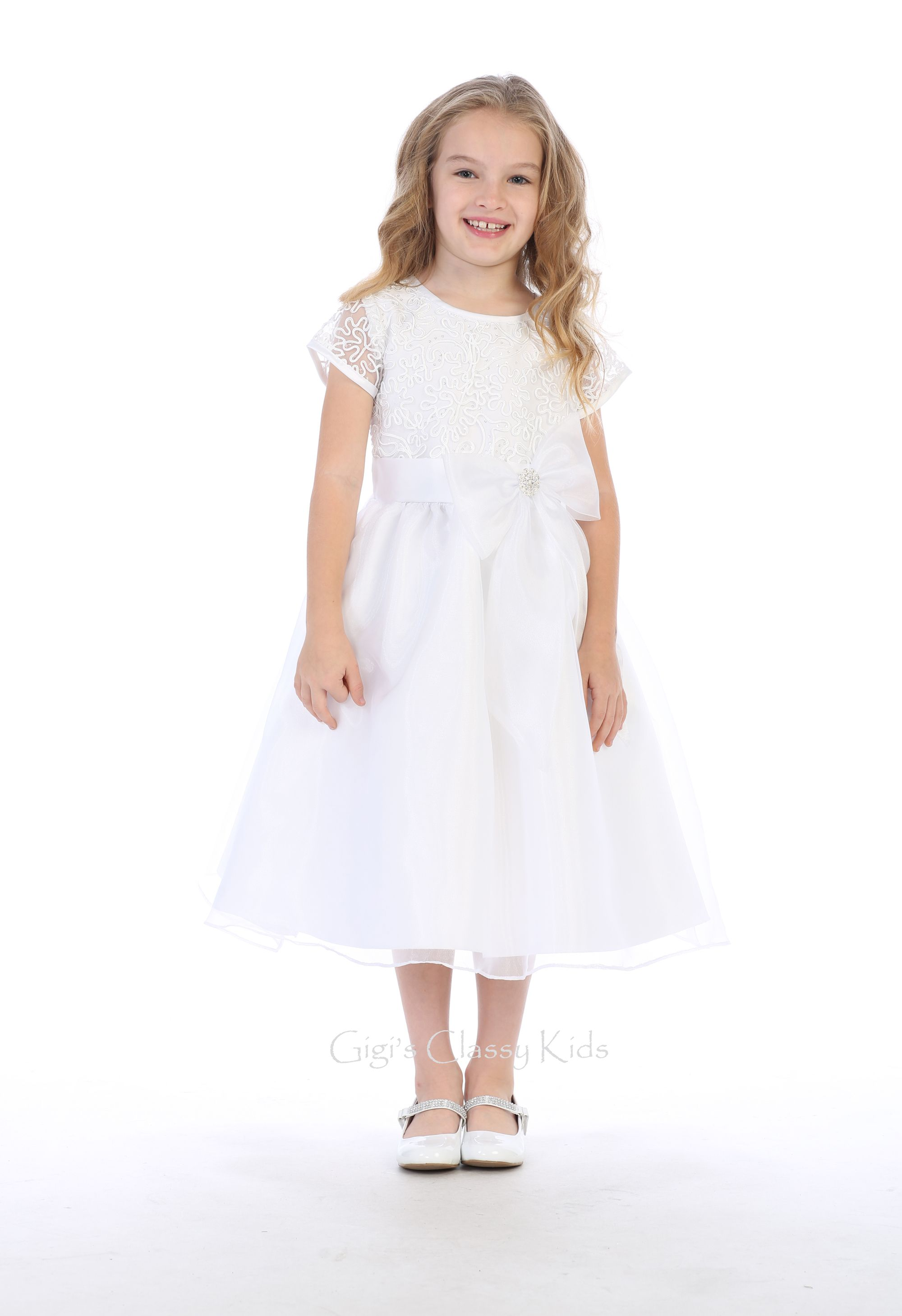 White Flower Girls Organza Tulle Dress First Communion Wedding Party Easter 155
