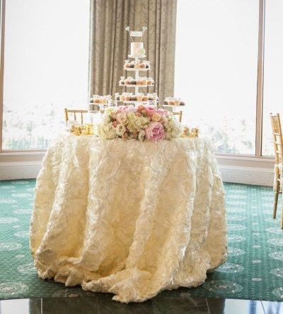 Ivory Satin Rosette Tablecloth Select Your Size Wedding Table