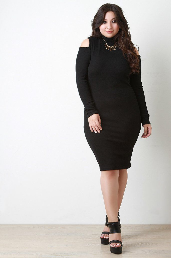 Ribbed Knit Cold Shoulder Sweater Dress Festive Plus Size Dresses
