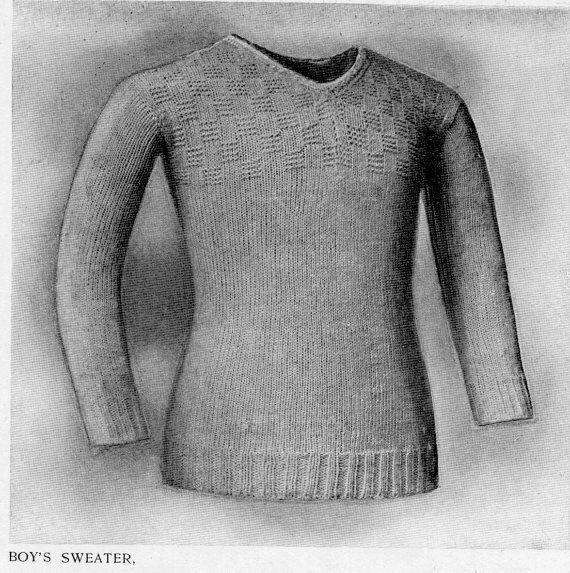 Vintage Original 1890s 1900s Victorian Boy 39 S Sweater Or Jersey Knitting Pattern Instant Download Vintage Knitwear Men Sweater Sweaters