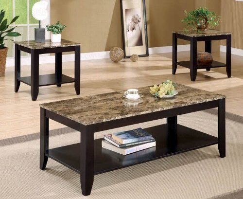 3pc Coffee Table End Table Set Marble Top Espresso Finish By
