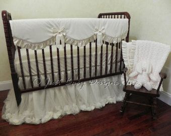 Baby Crib Bedding Set Gie Ivory Cream Perless Rail Cover