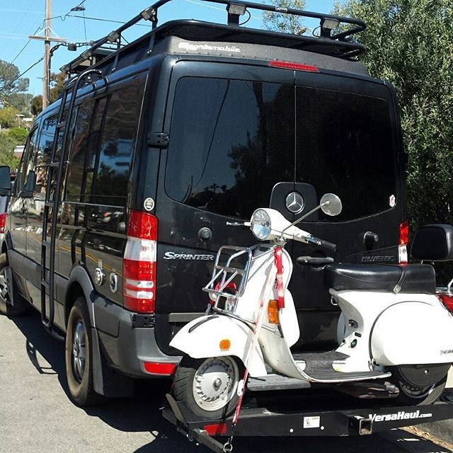 Sportsmobile Sprinter Loaded With Aluminess Gear On The Streets Of San Diego