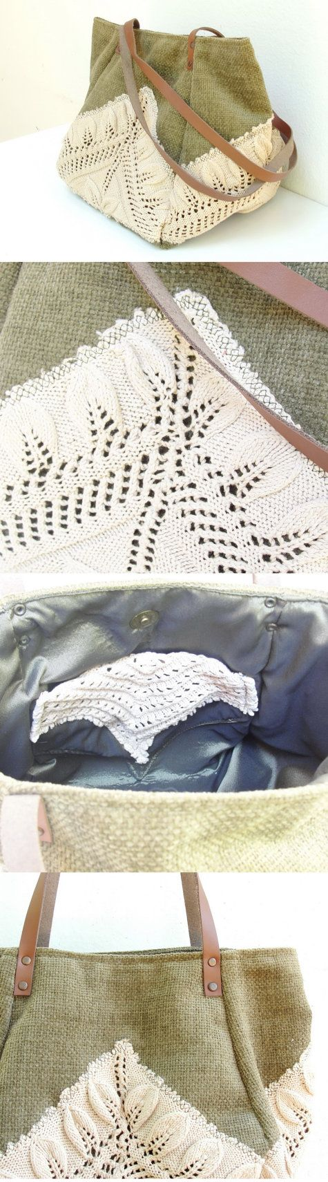 Good Old Times- Vintage Doily, Cotton and Leather Bag