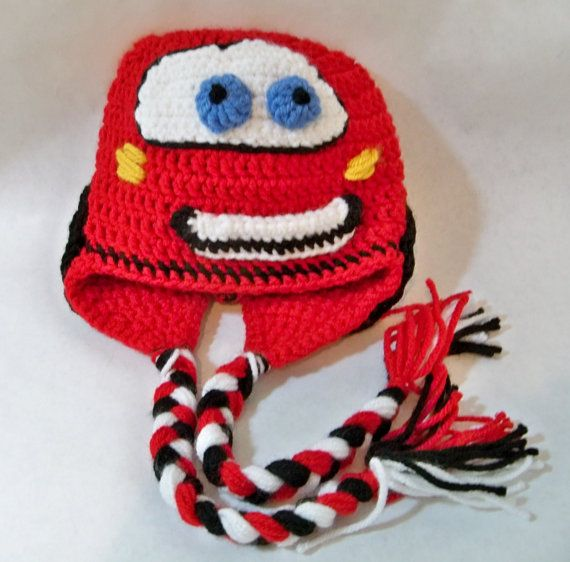 Crocheted Lightning Mcqueen Beanie from CARS by kleelong on Etsy, $22.00