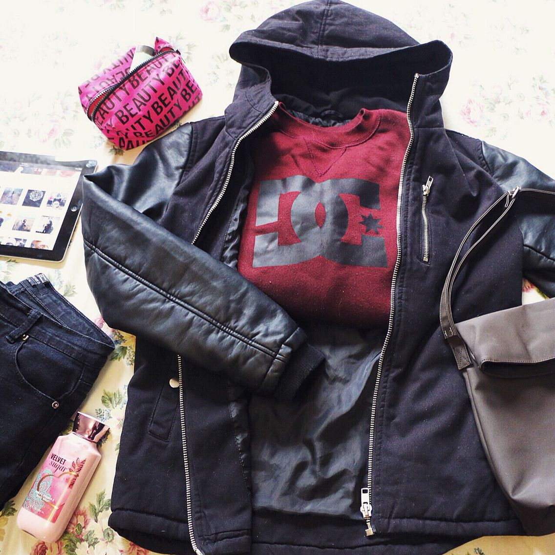 hello 36 F im ready  | men jacket, jeggings: forever21 | sweatshirt: DC | hand bag: evan-picone #mushieootd #winterootd