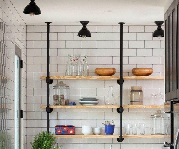 Hängeregal Decke.Kreative Ideen Aufbewahrung Fliesen Wand Industriell Stil