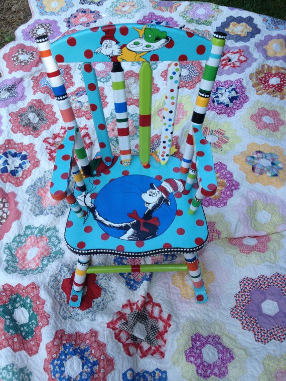 Dr Seuss Rocking Chair The Cat in the Hat Green Eggs by elliesshop
