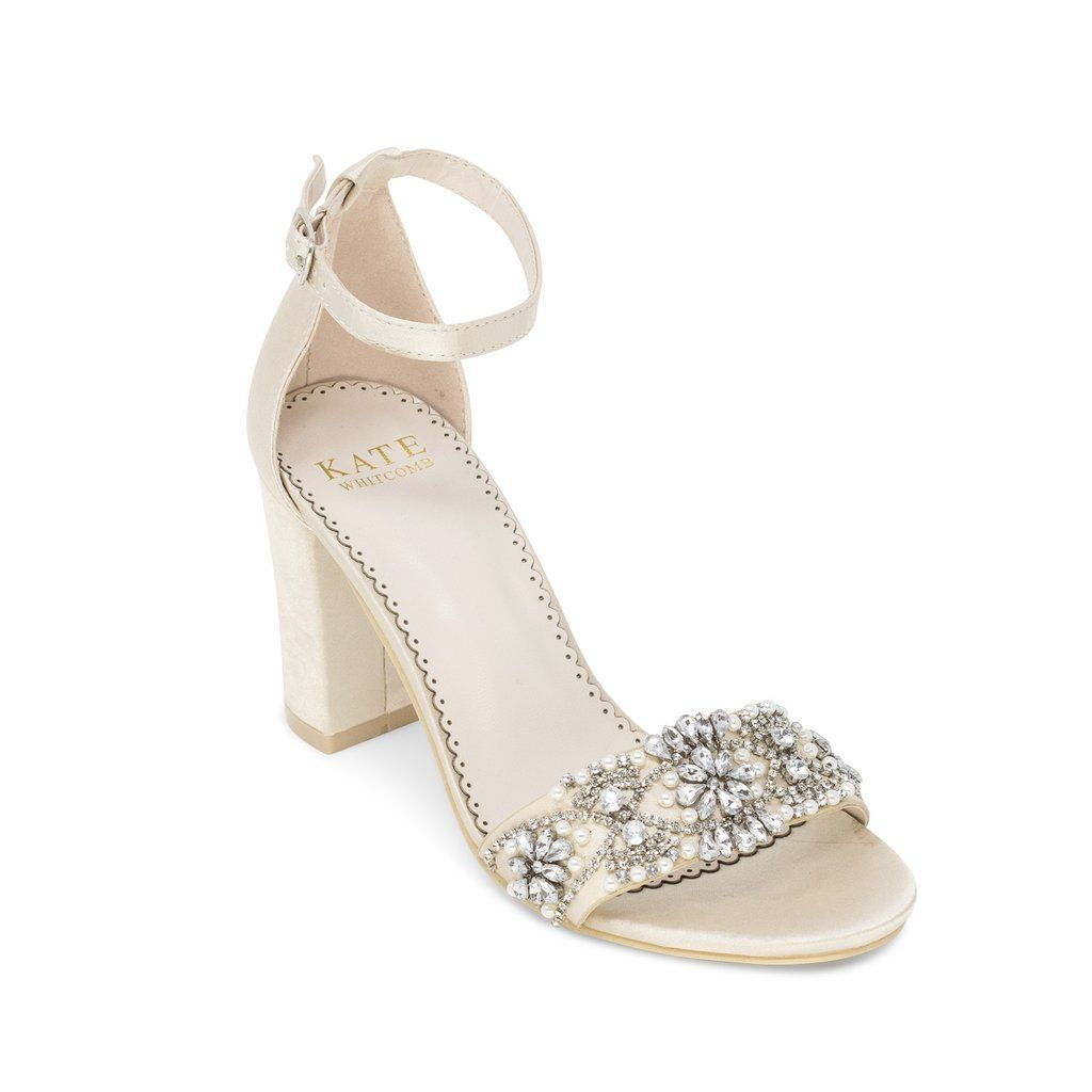 Bridal shoes block heel lucy champagne in 2020 wedding