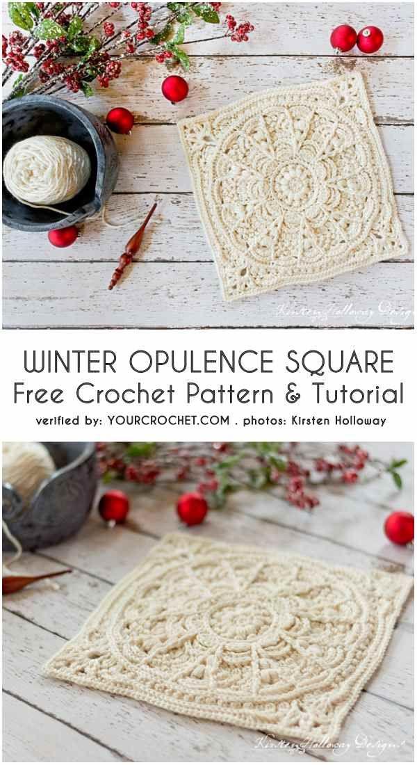 Winter Opulence Square Free Crochet Pattern   Muestras de ganchillo