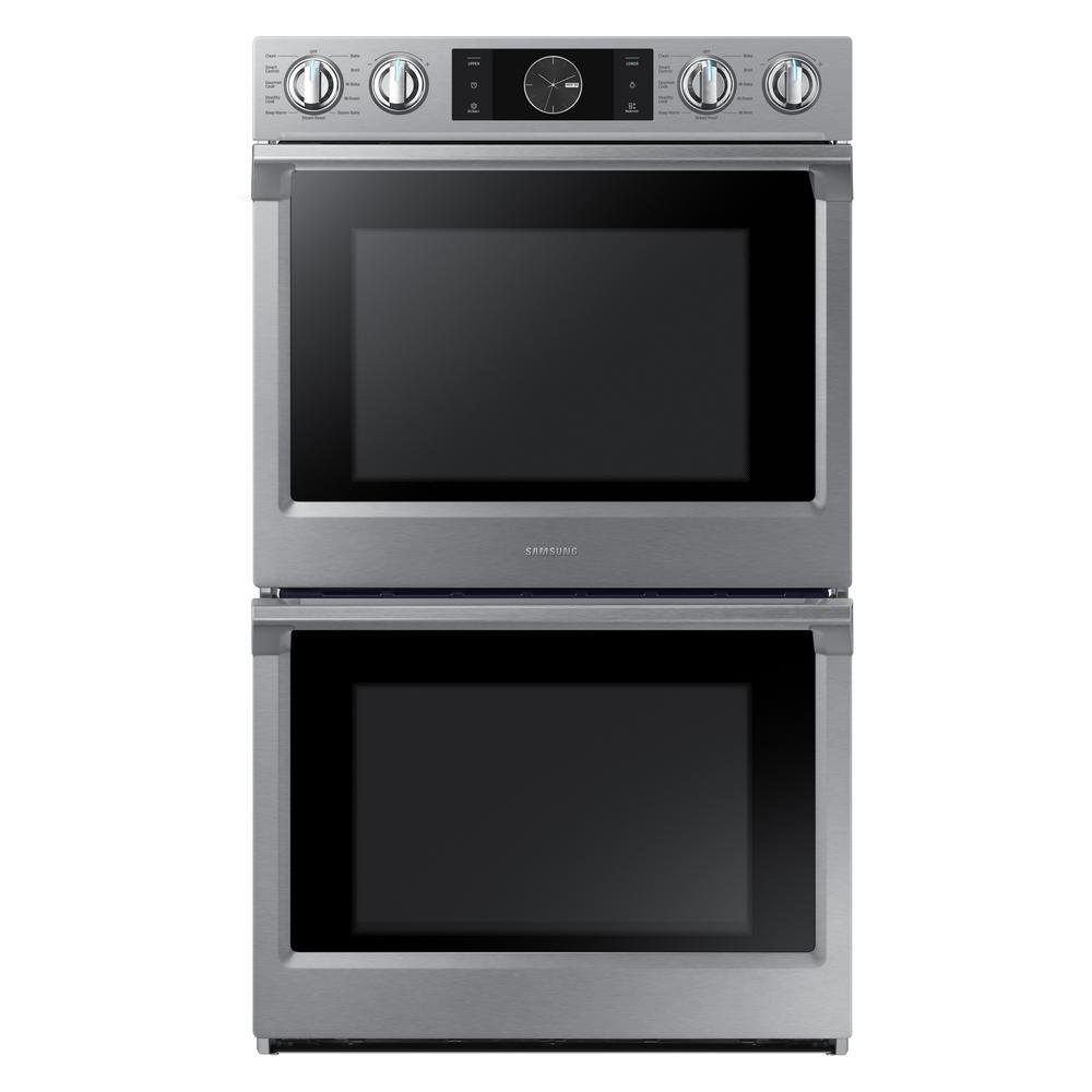 Samsung 30 In Double Electric Wall Oven With Steam Cook Flex Duo And Dual Convection In Stainless Steel Nv51k7770ds Stainless Steel Oven Wall Oven Electric Wall Oven
