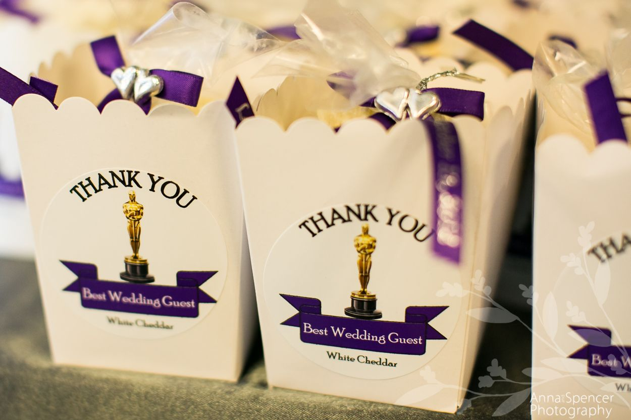 Movie themed wedding  Popcorn favors  Our Movie Themed