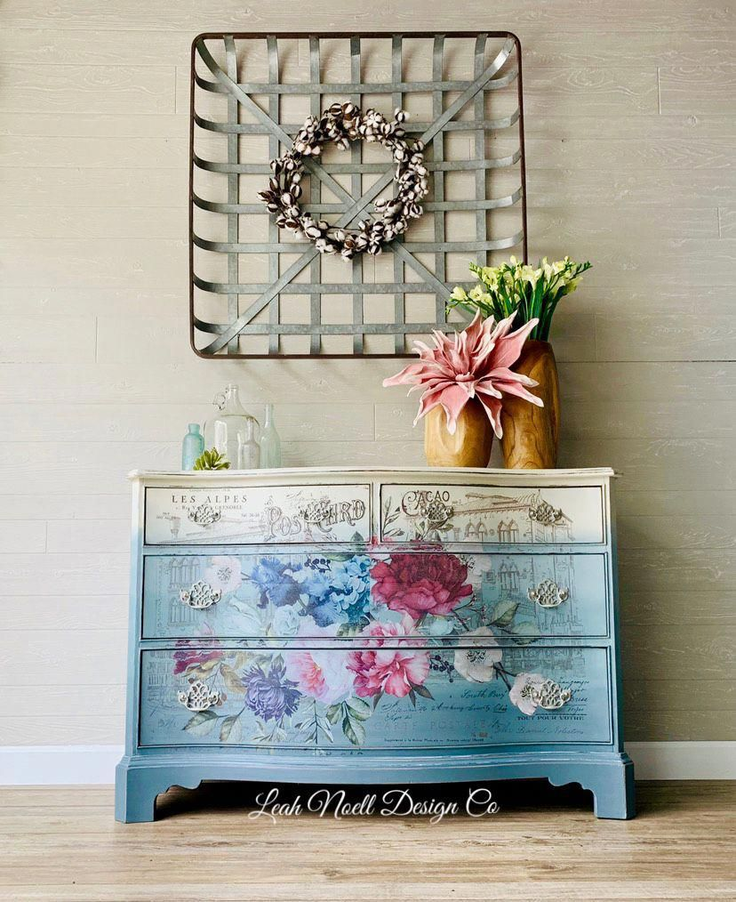 This is a great way to add florals to your furniture! #transfer #paintedfurniture #furnitureartist #furnituredesigns #furnituremakeover #RusticHomeFurniture