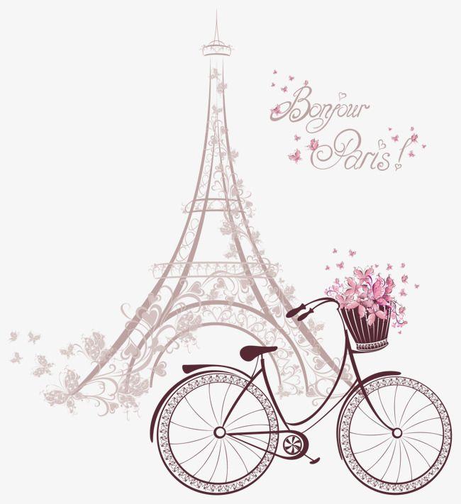 The Pink Tower Under The Bike Vector Tower Clipart Clipart Bike Flower Baskets Png Transparent Clipart Image And Psd File For Free Download Paris Art Paris Wallpaper Paris Images