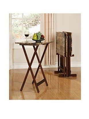 Wooden Trays To Decorate Impressive Linon Home Décor Tray Table Set Brownfaux Marble  Diy Home 2018