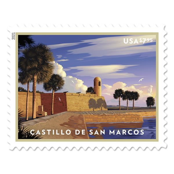 Castillo De San Marcos Stamp In 2021 Florida Art Castillo De San Marcos Old Fort