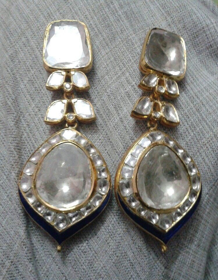 Polki Earings Mughal Jewelry Indian Antique Gems Diamond